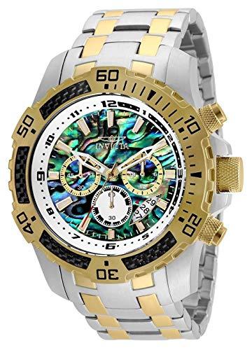 (Invicta Men's 25093 Pro Diver Scuba Quartz Chronograph Carbon Fiber Bezel Abalone Dial Bracelet Watch)