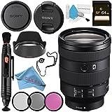 Sony FE 24-105mm f/4 G OSS Lens SEL24105G + 77mm 3 Piece Filter Kit + 64GB SDXC Card + Lens Pen Cleaner + Fibercloth + Lens Capkeeper + Deluxe Cleaning Kit Bundle