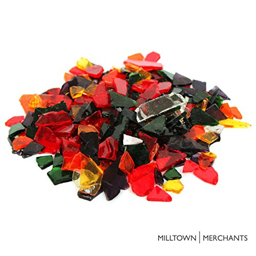 Milltown MerchantsTM Multicolored Stained Glass Pieces 3 lb - Transparent Blend Stained Glass Cobbles - Broken Glass Chips for Stepping Stones and Crafts - Glass Coblets Bulk Assortment