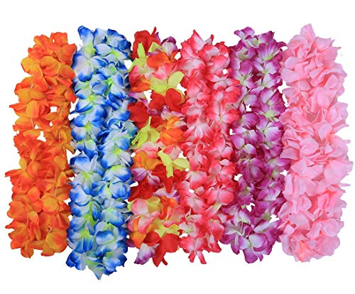 JSSHI Pack of 6 Large Size Hawaiian Ruffled Simulated Silk Flower Hula Luau Party Leis Necklace Accessories for Holiday Wedding Birthday Decorations Party Costumes (Assorted Colors,Pack of 6)