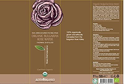 Alteya USDA Organic Bulgarian Rose Water (From New 2016 Rose Harvest) - Special Thermal-Distilled, From Our Rose Farm and Distillery