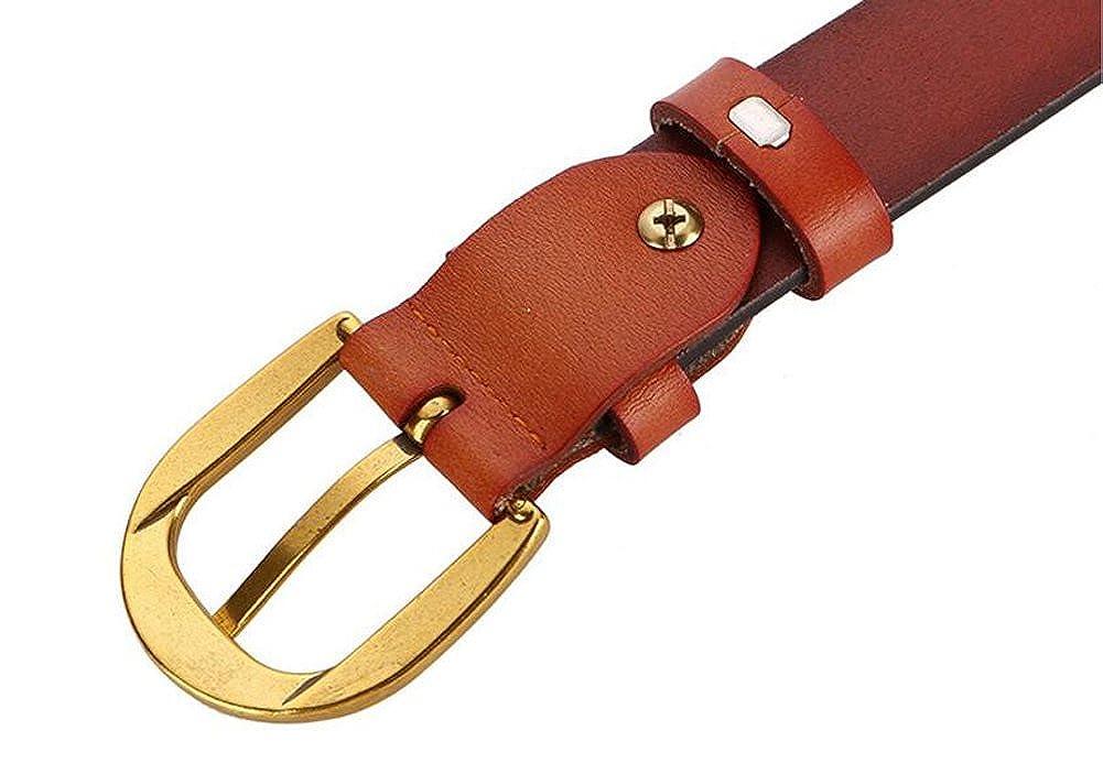 Cliont Cintura da donna in vera pelle da donna Cintura da 1.1Ampia Silver Fibbia dorata Marrone Nero Bianco Caff/è Arancione Cintura rossa