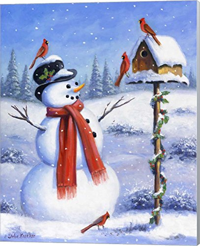 Snowman & Cardinals by John Zaccheo Canvas Art Wall Picture, Museum Wrapped with Winter Gray Sides, 16 x 20 inches