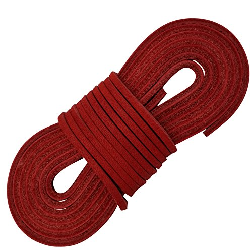 Red Leather Womens - TOFL Leather Boot Laces-1 Pair 72 Inches Long-Easy Sizing Cut to Fit (Red)