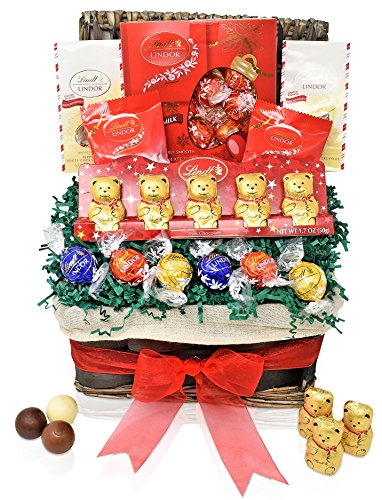 Lindt Valentine's Day Chocolate Gift Basket - Lindt Mini Bears & Snowflakes & Truffles Mixed and more - Gifts for Him and Her