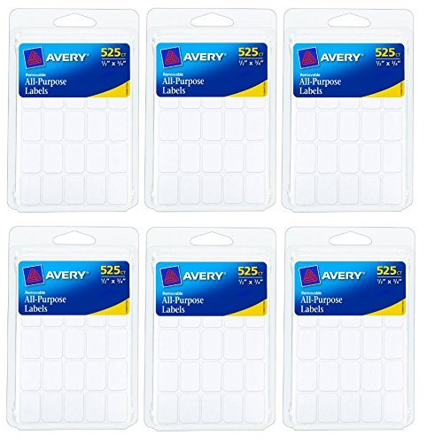 Avery Removable Labels, Pack of 525, Rectangular, 0.5 x 0.75 Inches, White, 6 Pack = Total 3150 Labels