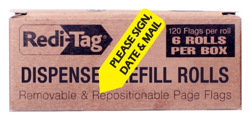 Redi-Tag Please Sign, Date and Mail Printed Arrow Flags, 6 Roll Refill, 120 Flags per Roll, 1-7/8 x 9/16 Inches, Yellow (91041) (Please Sign Date And Mail)
