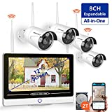 【2019 New】 All in One with 12' Monitor 1080P Security Camera System Wireless,SMONET 8-Channel Outdoor Home Camera System(2TB Hard Drive),4pcs 2.0MP(1080P) Waterproof Wireless IP Cameras,P2P,Free APP