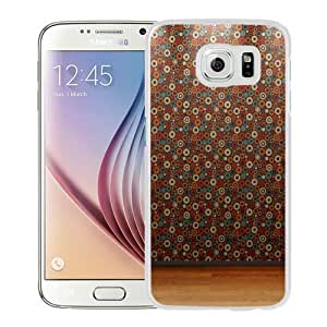 Fashion Custom Designed Cover Case For Samsung Galaxy S6 Phone Case With Dots Wallpaper Wood Flooring_White Phone Case