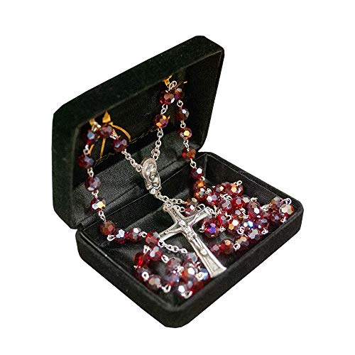 Venerare Catholic Birthstone Rosary | Italian Crystal Beads | 12 Colors for Anytime of The Year | Christian Jewelry (July - Red Ruby)