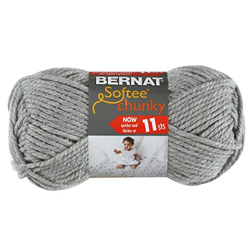 Bernat Softee Chunky Yarn, Grey Heather, Single Ball (Grey Single)