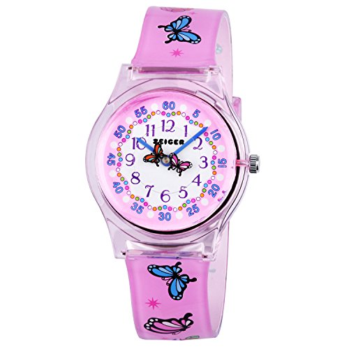 Zeiger Fashion Children Kids Watches Girls Age 5 7 10 Time Teacher, Cartoon Character Butterfly Silicone Band -Pink