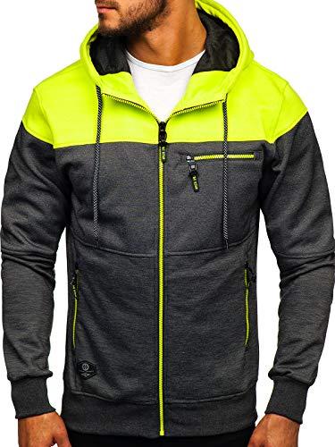 BOLF Herren Kapuzenpullover mit Reißverschluss Sweatjacke Hoodie Baumwollmischung Outdoor Sport Street Style 1A1