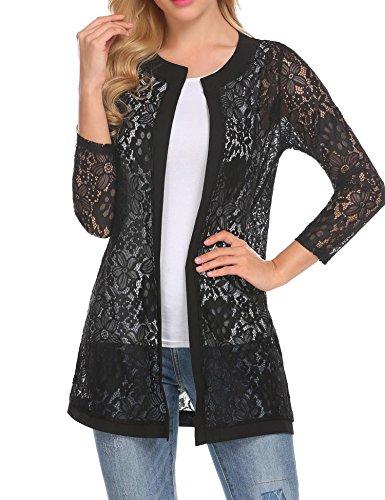 Black Gold Cardigan (Bulges Women Floral Lace Cardigan Shrug 3 4 Sleeve Front Open Bolero Blouse Crop Top Black XX-Large)