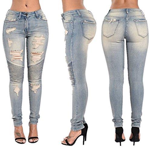 en de Blue L coton Blue Color coton stretch femme Jeans trous Size 5RwXnq