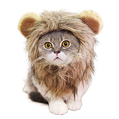 Byhoo Halloween Lion Mane Wig Costume for Cat & Little Dog - Adorable Cute Pet Lion Hair Dress Up Kitten & Puppy Hat with Ears for Holiday Photo Shoots Cospaly Party