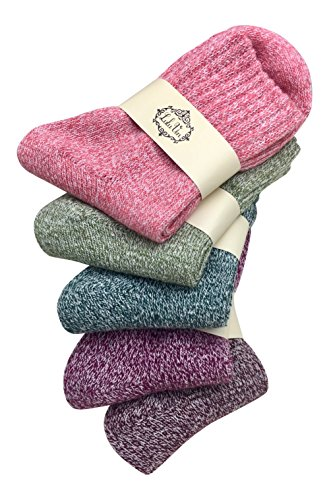 LuluVin's Women's Colorful Crew Vintage Inspired Knit Socks (5 Pairs) (Solids) -