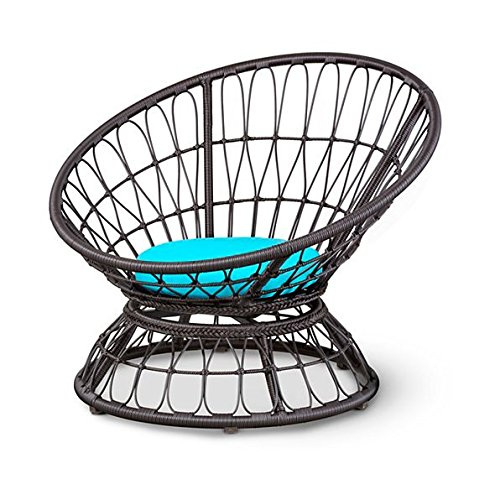 Outdoor Papasan Lounge Chair With Cushions Patio Furniture Light Blue by Home Improvements