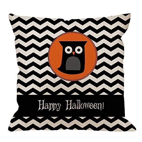 HGOD DESIGNS Halloween Square Pillow Cushion Cover,Cute Owl Happy Halloween Cotton Linen Cushion Covers Home Decorative Throw Pillowcases 18x18inch,Black,Orange -