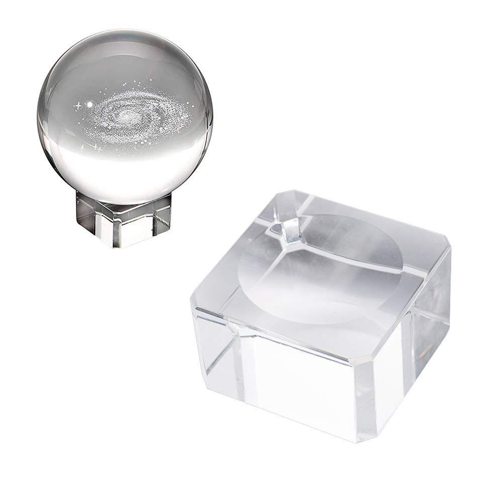 3 cm. Garneck Vitrina para esferas de Cristal Transparente con Esfera de Cristal Artificial con Ranura c/óncava