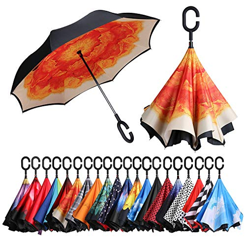 BAGAIL Double Layer Inverted Umbrellas Reverse Folding Umbrella Windproof UV Protection Big Straight Umbrella for Car Rain Outdoor with C-Shaped Handle Orange Flower