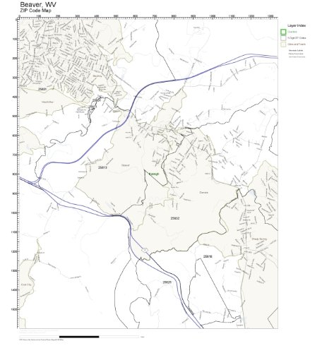 ZIP Code Wall Map of Beaver, WV ZIP Code Map Laminated
