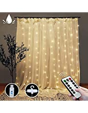 Curtain String Lights, 300 LEDs Window Curtain Fairy Lights with 8 Modes Remote, 3Mx3M USB Powered Fairy Lights for Party, Outdoor Indoor Wall Decorations (Warm White)