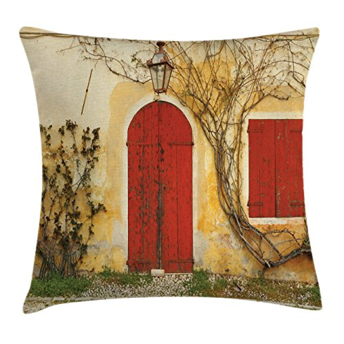 Tuscan Fabric Seat - Ambesonne Shutters Decor Throw Pillow Cushion Cover, Old Doorway Blinded Door and Window Rural Tuscan House Italy Europe, Decorative Square Accent Pillow Case, 18 X 18 Inches, Beige Yellow Red