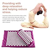Body Head Foot Neck Massager Cushion Mat Set Acupressure Relieve Stress Pain Aches Muscle Tension Spike Yoga Mat With Pillow Purple