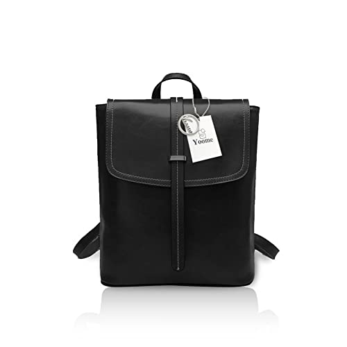 Yoome Women Oil Wax Vintage Leather Backpack Flapover Ladies Shoulder Bag  Hasp Handbag Black 70b1262cf4c94