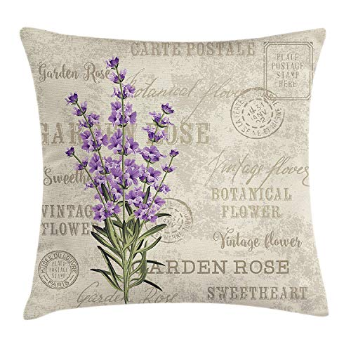 Touch Colourful 20x20 Inches Lavender Throw Pillow Cushion Cover Vintage Postcard Composition Grunge Display Flowers, Decorative Square Accent Pillow Case Sofa Car Bedroom Decoration