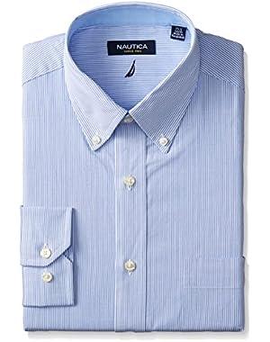 Men's Long Sleeve Dress Shirt Stripe with Button Down Collar