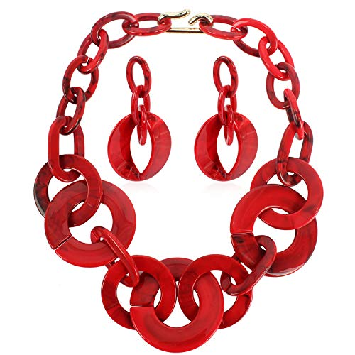 Ufraky Women Simple Acrylic Collar Chunky Choker Cluster Bib Statement Chain Necklace and Hoop Earring Jewelry Set, 18