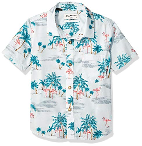 Billabong Boys' Sundays Floral Short Sleeve Shirt Grey Medium