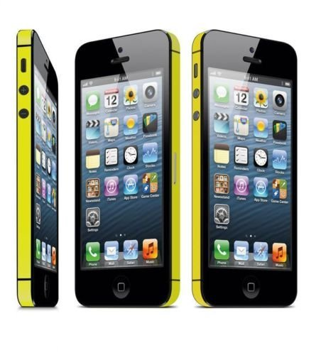 TCD for Apple iPhone 4 4S Leather [YELLOW] Vinyl Bumper Side Sticker Skin Antenna Wrap -ADHESIVE STICKER Skin Set - No Sticky Residue