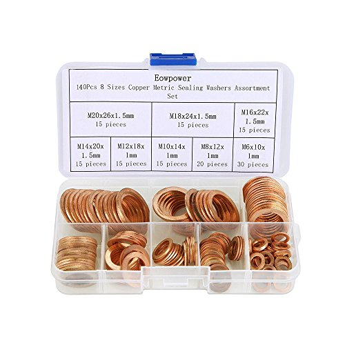 Eowpower 140Pcs 8 Sizes Copper Metric Sealing Washers Assortment Set