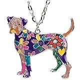 BONSNY Love Pets GORGEOUS GEORGE Enamel Boxer Necklace Dog Animal Pendant Women Jewelry 18'' (Purple)