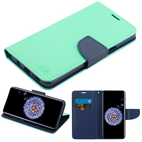 (Case+Stylus, PU Leather Purse/Clutch/Wallet Fits Samsung Galaxy S9 Plus G9639 MYBAT MyJacket Rose Gold Teal Green Pattern/Dark Blue Liner with Card Slot)