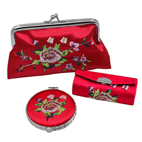 akeup Mirror Lipstick Case Purse Set Retro Flower Pattern Premium Embroidery Brocade Holder Box (Red) ()