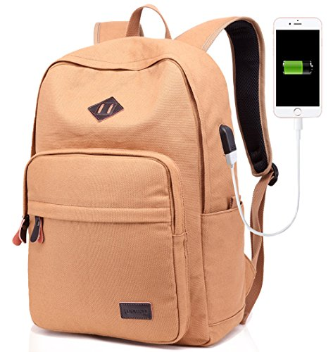 (Backpack For Men Women Girls Boys With USB Charging Port Vintage Canvas Bag for Laptop Travel Business College Book Bag (Brown))