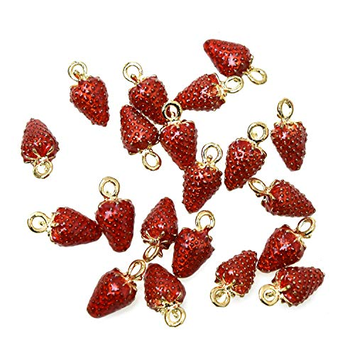 Monrocco 20Pcs Enamel Strawberry Charms Pendants Alloy Fruit Charms for Making Necklace Bracelet Earrings