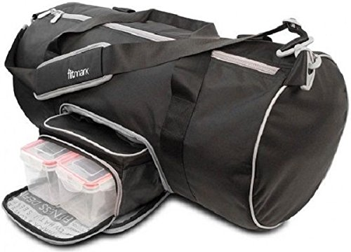 Fitmark Transporter Duffel Bag with Removable Meal Prep Insulated Bag with BPA Free Portion Control Meal Containers, Reusable Ice Packs, Black
