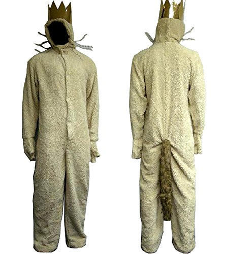 Wild Things Max Costumes (Where the Wild Things Are Wolf King MAX Costume Hoodie Adult with Crown (S))