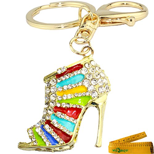 Bling Bling Sandal Shaped Crystal Rhinestone Enamel Graven 3D Cubic Metal Keychain Car Phone Purse Bag Decoration Holiday Gift (Rainbow)