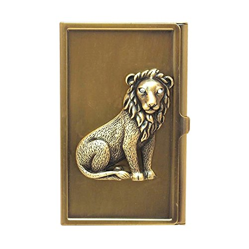 All For Giving Lion Business Card Carrying Case, Brass