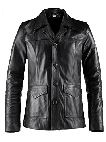 - VearFit Hitman 4 Buttons Black Lambskin Real Leather Coat Blazer for Men Plus Size