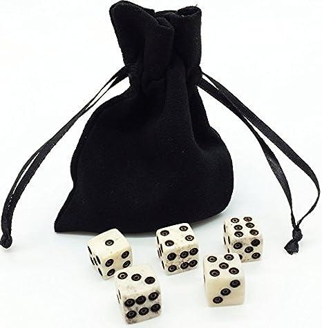 Dice Set With Dice Bag Real Bone 5 6d Dice Handmade Casino Dice Rpg Betting Dice