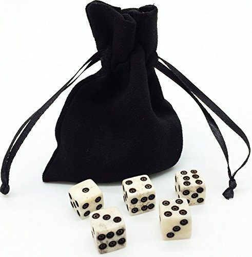 Dice Set with Dice Bag. REAL BONE. 5 – 6d Dice. Handmade. Casino Dice RPG Betting Dice Craps Yahtzee Board games DD Backgammon Farkle Bunco Balut Lia…