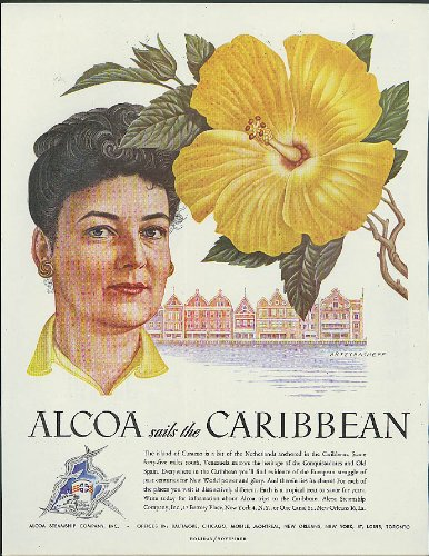 alcoa-steamship-ad-1948-curacao-woman-yellow-blossom-by-artzybasheff
