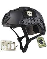 ATAIRSOFT Fast PJタイプ タクティカル アウトドア エアソフトヘルメット 米軍風 多機能サバゲーヘルメット オートバイ用 作業用など マウントレール付き ABS製 かっこいいヘルメット (ブラック)